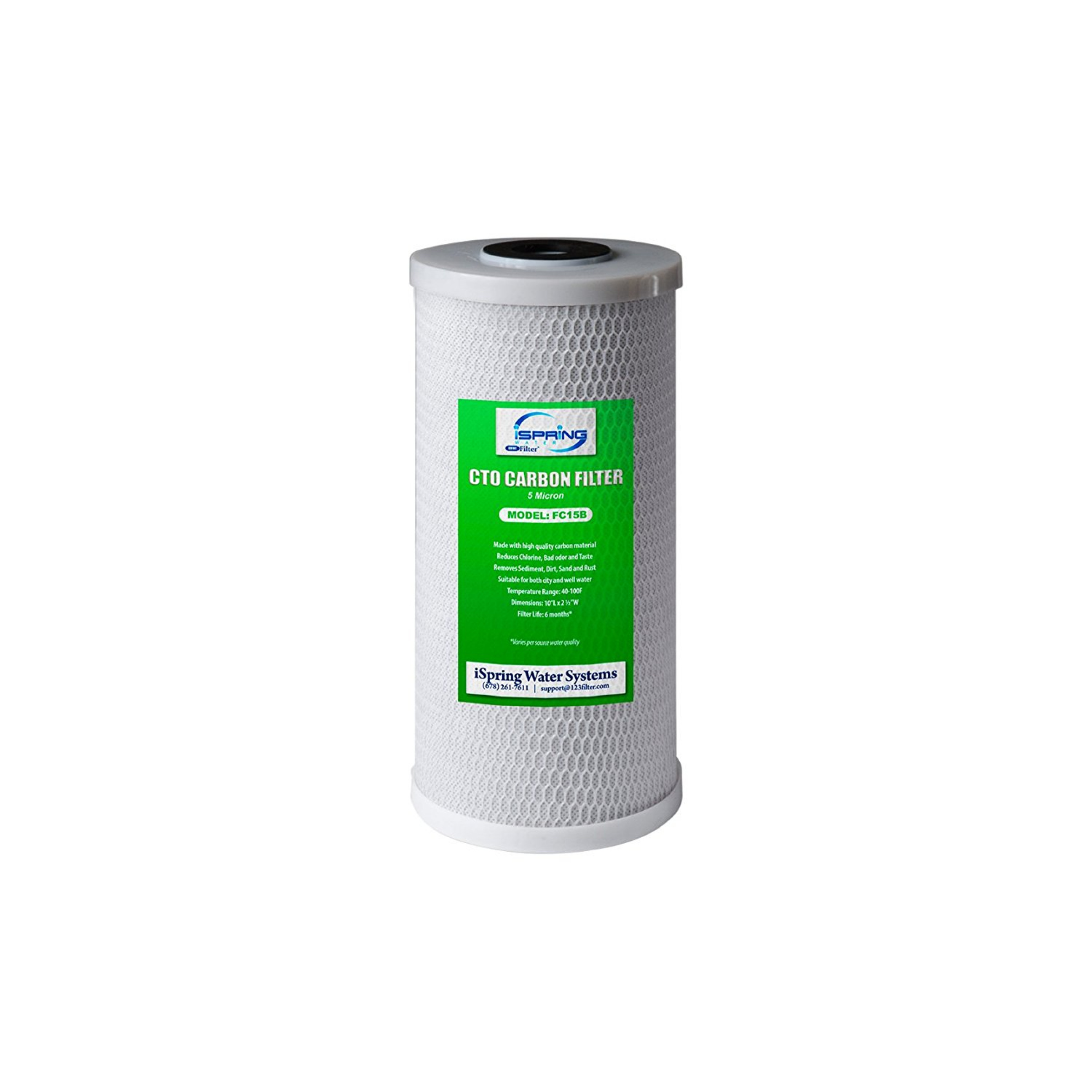 iSpring FG15B-KS Premium Quality Super Capacity GAC and KDF Carbon Filter Replacement Cartridge for Direct Connect Under Sink Water Filtration System US21B 10x 4.5