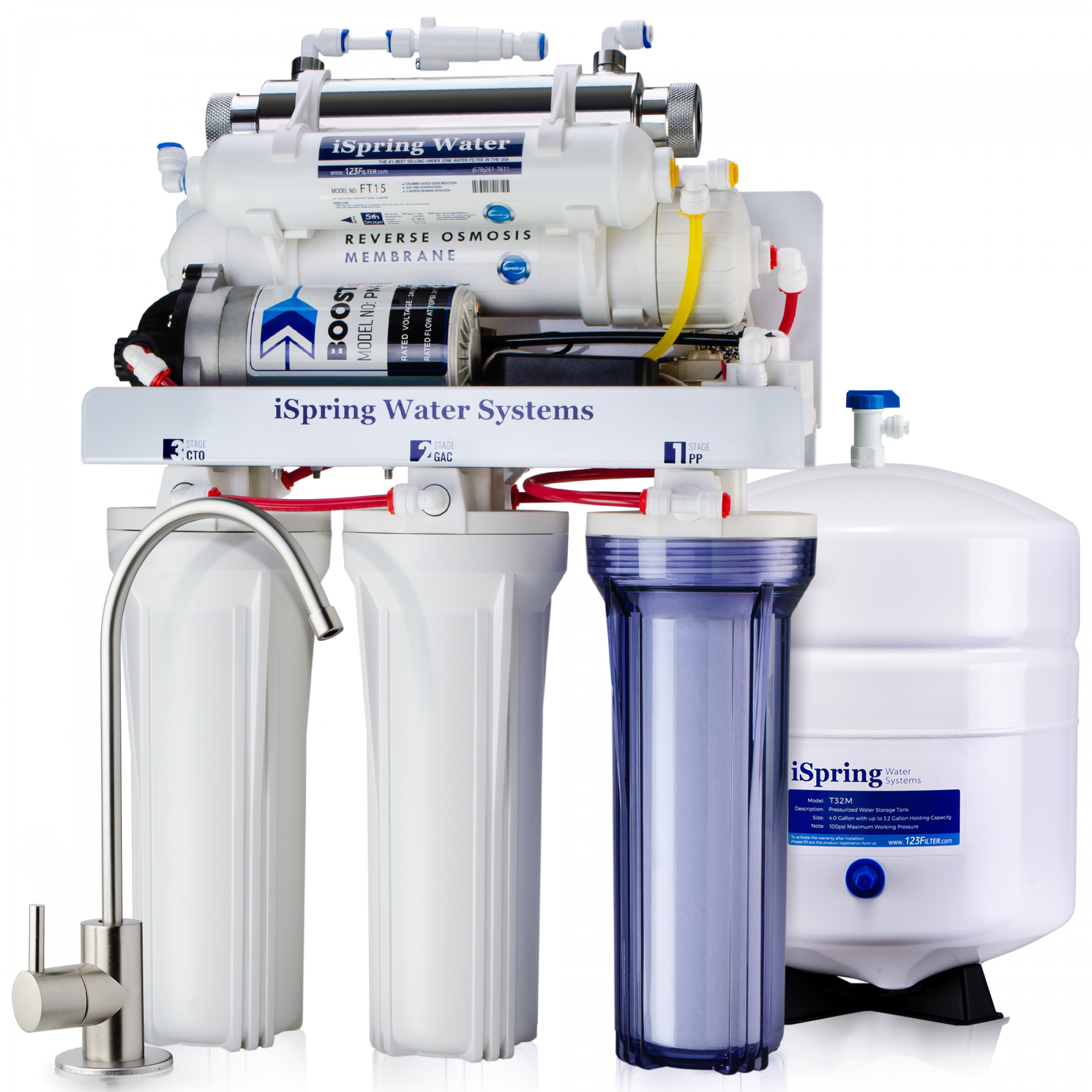 100GPD 5 Stage Under Sink Reverse Osmosis Purifier Drinking Water Filter System