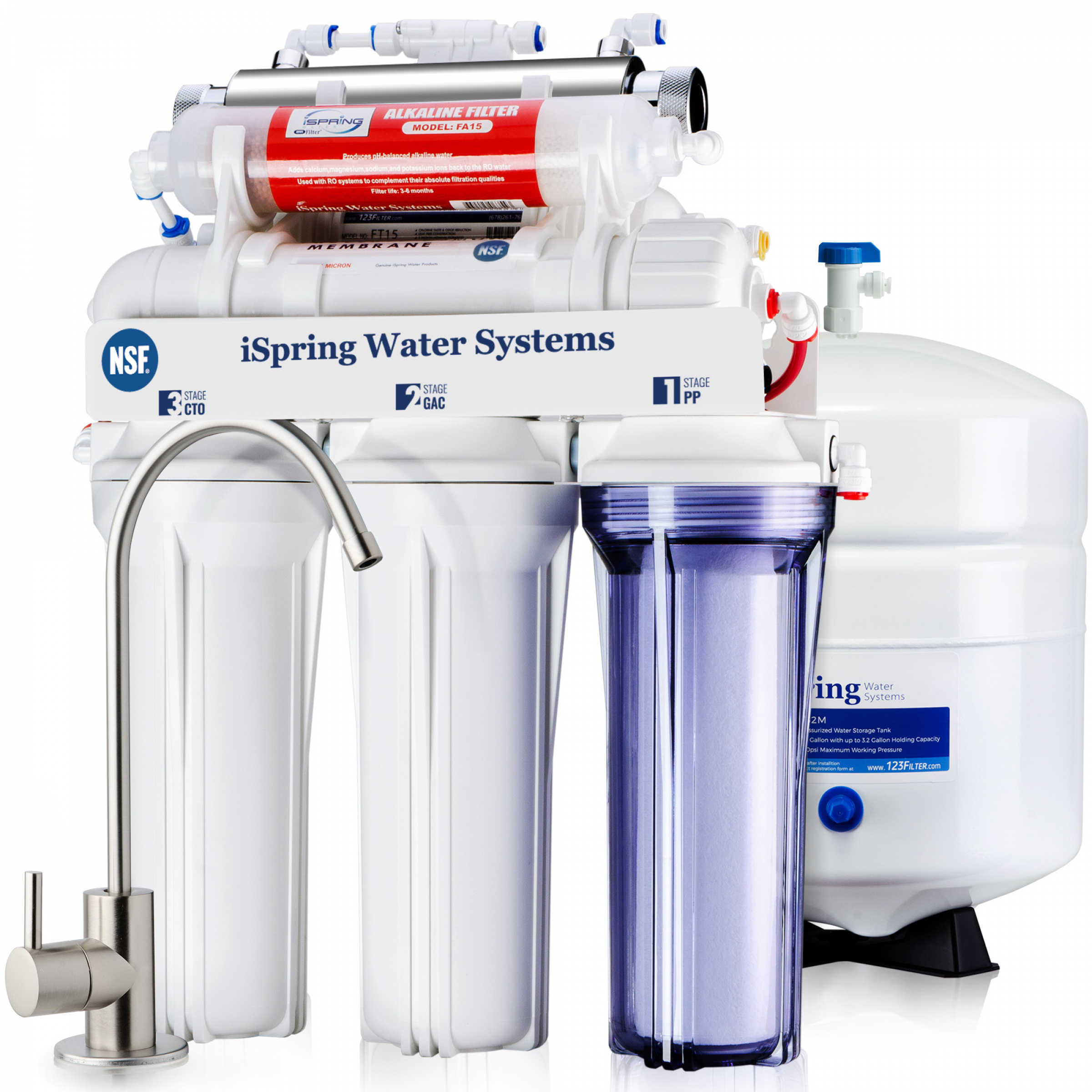 ispring rcc7ak uv deluxe under sink 7 stage reverse osmosis drinking rh 123filter com